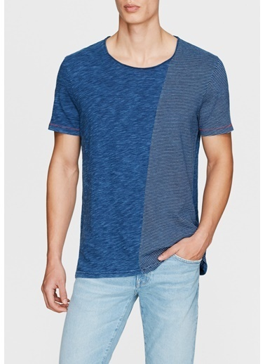 Mavi Desenli Tişört İndigo